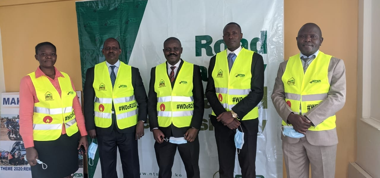 ADC representatives of Road safety Mainstreaming Committee with NTSA Director for Road Safety and Administration Mr. Badu Katelo and Manager Road Safety Mr. Samuel Musumba
